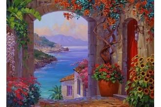 Елмазен гоблен Море и цветя