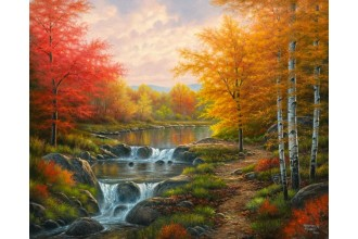 Диамантен гоблен Есен край реката и брезите