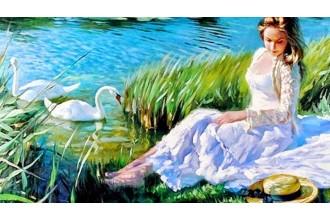 Елмазен гоблен Дамата и белите лебеди