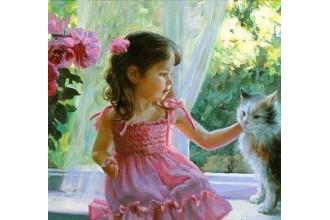 Диамантен гоблен Момиченце и коте на прозореца