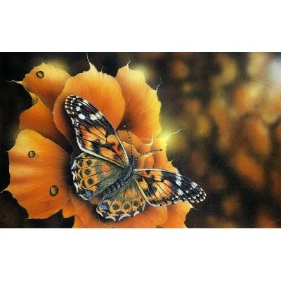 Елмазен гоблен Пеперуда и оранжево цвете