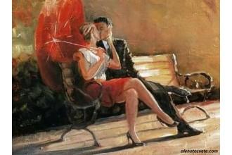 Диамантен гоблен Целувка под червения чадър