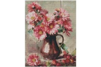 Диамантен гоблен Медна кана с розови цветя