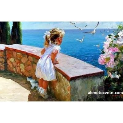Диамантен гоблен Момиченцето и морето