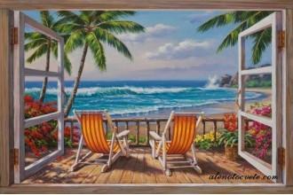 Елмазен гоблен Хавайска гледка през прозореца
