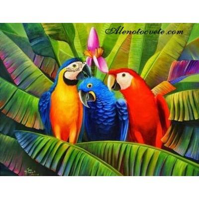 Елмазен гоблен Папагали приятели в джунглата
