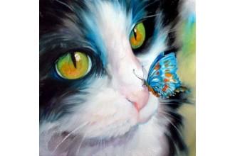 Диамантен гоблен Коте и пеперуда